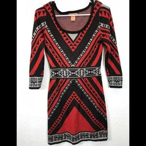 Flying Tomatoes Aztec/Tribal Knit Dress Sz Small